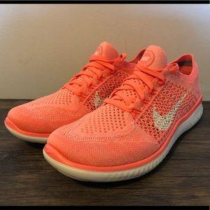 Women's Nike Free RN Run Flyknit 2018 size 7 coral NWT